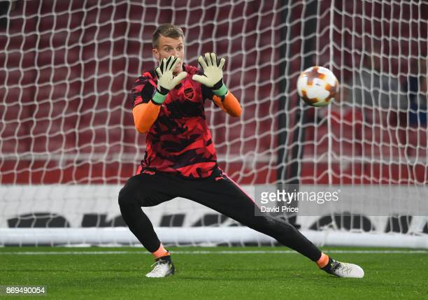 Matt Macey of Arsenal warms up before the UEFA Europa League group H match between Arsenal FC and Crvena Zvezda at Emirates Stadium on November 2...