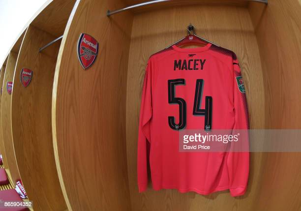 Matt Macey's Arsenal shirt in the changing room before the Carabao Cup Fourth Round match match between Arsenal and Norwich City at Emirates Stadium...