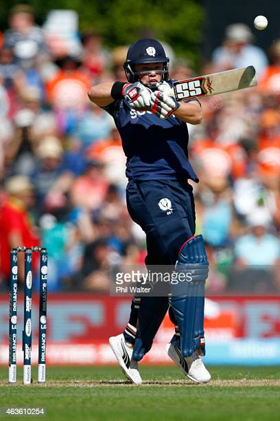 Matt Machan of Scotland bats during the ICC Cricket World Cup match between New Zealand and Scotland at University Oval on February 17 2015 in...