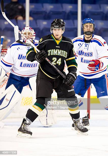 Matt MacLeod of the St. Thomas University Tommies skates against the Massachusetts Lowell River Hawks during NCAA exhibition hockey at the Tsongas...