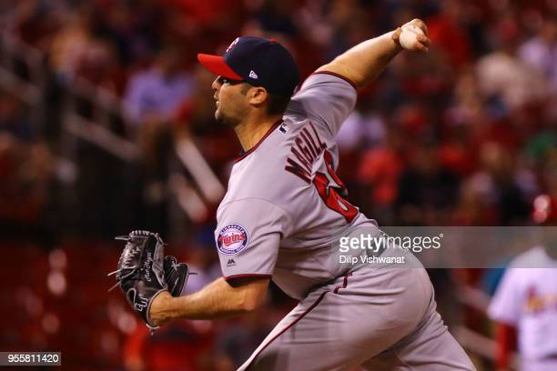 Matt Magill of the Minnesota Twins delivers a pitch against the St Louis Cardinals in the eighth inning at Busch Stadium on May 7 2018 in St Louis...