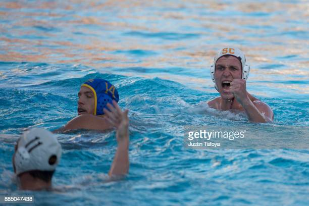 Matt Maier of the University of Southern California celebrates during the Division I Men's Water Polo Championship held at the Uytengsu Aquatics...