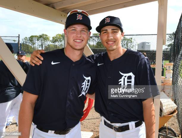 Matt Manning and Alex Faedo of the Detroit Tigers pose for a photo during Spring Training workouts at the TigerTown Facility on February 19, 2020 in...