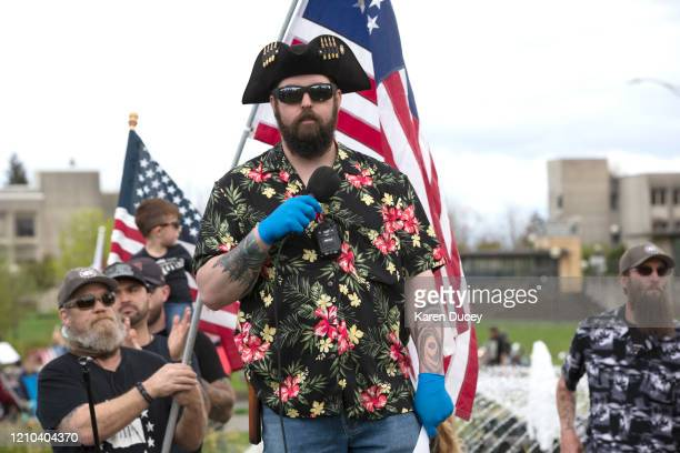 Matt Marshall of the right-wing group Washington State Three Percent speaks at a 'Hazardous Liberty! Defend the Constitution!' rally to protest the...