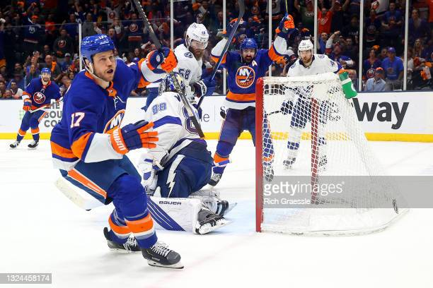 Matt Martin of the New York Islanders celebrates after scoring against the Tampa Bay Lightning during the second period in Game Four of the Stanley...