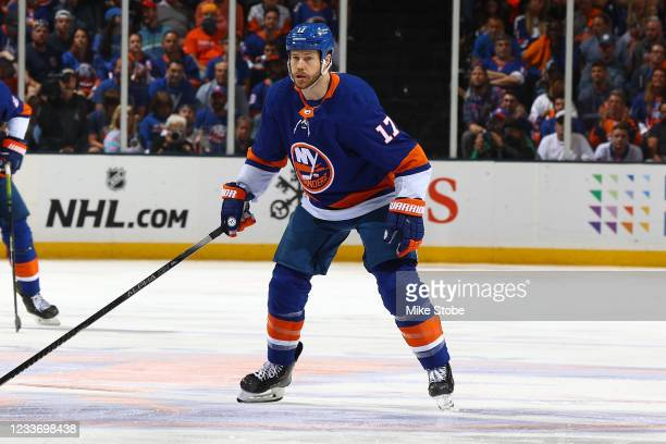 Matt Martin of the New York Islanders in action against the Tampa Bay Lightning in Game Six of the Stanley Cup Semifinals of the 2021 Stanley Cup...