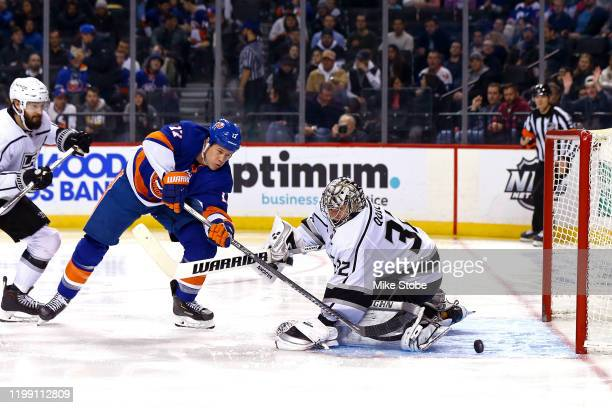 Matt Martin of the New York Islanders scores a goal past Jonathan Quick of the Los Angeles Kings during the third period at Barclays Center on...