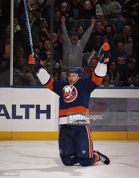 Matt Martin of the New York Islanders scores at 405 of the second period against the Edmonton Oilers at the Nassau Veterans Memorial Coliseum on...