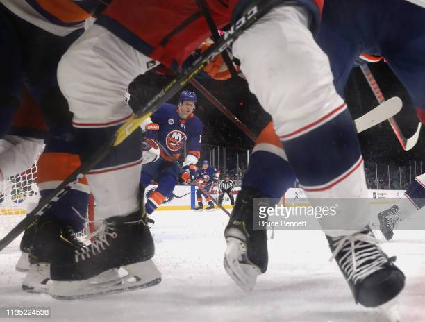 Matt Martin of the New York Islanders skates against the Columbus Blue Jackets at the NYCB Live's Nassau Coliseum on March 11, 2019 in Uniondale, New...
