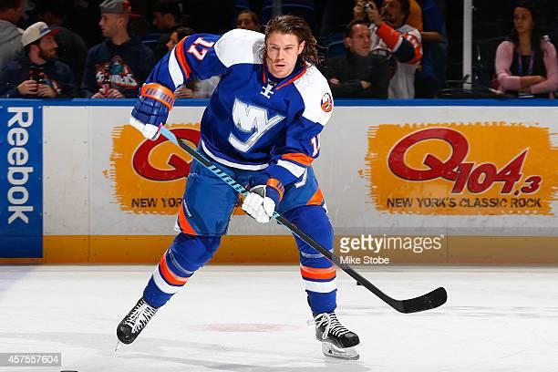 Matt Martin of the New York Islanders skates during warm-ups prior to their game against the San Jose Sharks at Nassau Veterans Memorial Coliseum on...