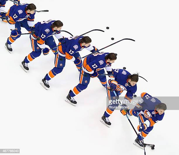 Matt Martin of the New York Islanders skates during warmups prior to the game against the Los Angeles Kings at the Nassau Veterans Memorial Coliseum...
