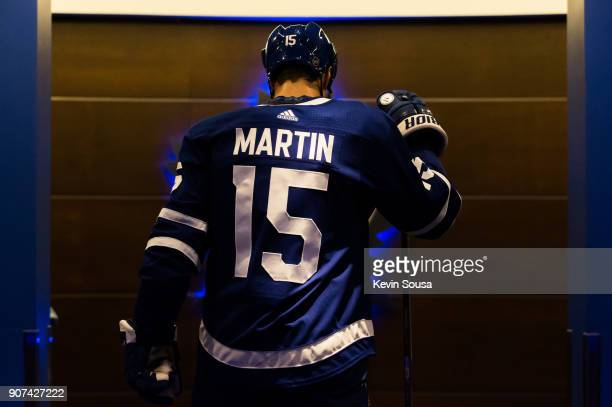 Matt Martin of the Toronto Maple Leafs walks to the dressing room after the first period against the St Louis Blues at the Air Canada Centre on...