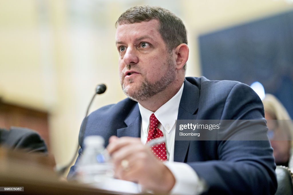 Matt Masterson, senior cybersecurity advisor with the Department of Homeland Security (DHS), speaks during a Senate Rules and Administration Committee hearing on election security in Washington, D.C., U.S., on Wednesday, July 11, 2018. The Election Assistance Commission (EAC), one of the smallest federal agencies with the big job of helping to protect voting systems from foreign interference is in charge of distributing $380 million in new grants to states for election security, with the goal of getting the money out in time to upgrade voting systems by November. Photographer: Andrew Harrer/Bloomberg via Getty Images