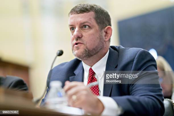 Matt Masterson senior cybersecurity advisor with the Department of Homeland Security speaks during a Senate Rules and Administration Committee...