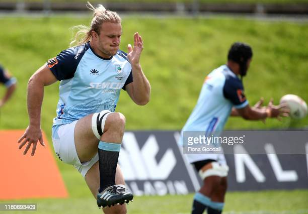 Matt Matich of Northland warms up during the round 10 Mitre 10 Cup match between Northland and Otago at Semenoff Stadium on October 13 2019 in...