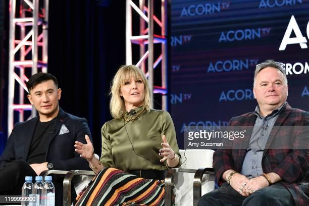 Matt McCooey Ashley Jensen and executive producer Barry Ryan of Agatha Raisin speak during the Acorn TV segment of the 2020 Winter TCA Press Tour at...