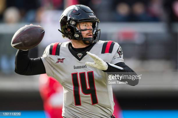 Matt McGloin of the NY Guardians attempts a pass against the DC Defenders during the first half of the XFL game at Audi Field on February 15, 2020 in...