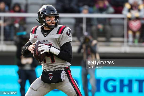 Matt McGloin of the NY Guardians looks to pass against the DC Defenders during the second half of the XFL game at Audi Field on February 15, 2020 in...