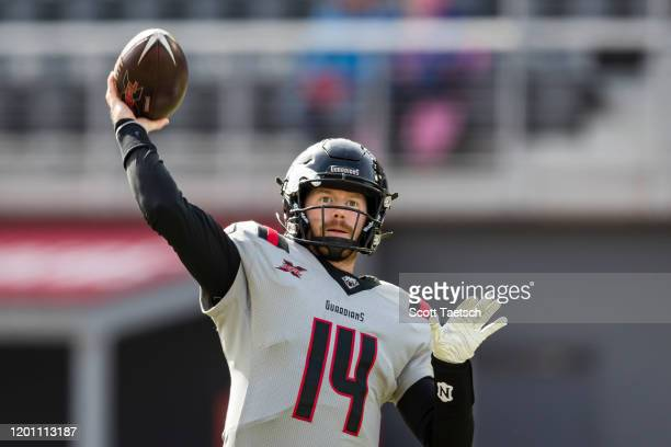 Matt McGloin of the NY Guardians warms up before the XFL game against the DC Defenders at Audi Field on February 15, 2020 in Washington, DC.