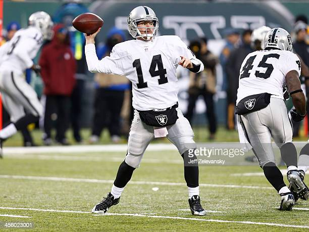 Matt McGloin of the Oakland Raiders plays against the New York Jets during their game at MetLife Stadium on December 8, 2013 in East Rutherford, New...