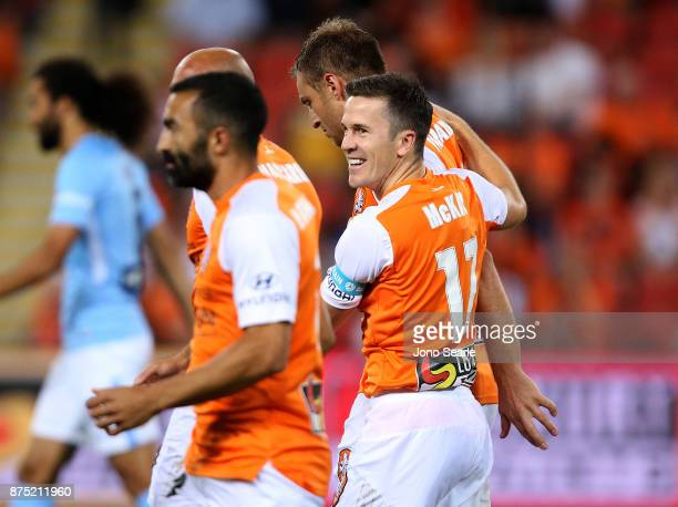 Matt McKay of Brisbane Roar celebrates a goal during the round seven ALeague match between Brisbane Roar and Melbourne City at Suncorp Stadium on...
