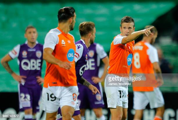Matt Mckay of the Brisbane Roar instructs his team mate during the round 27 ALeague match between the Perth Glory and the Brisbane Roar at nib...