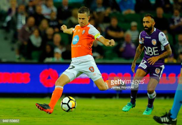 Matt Mckay of the Brisbane Roar shoots for goal during the round 27 ALeague match between the Perth Glory and the Brisbane Roar at nib Stadium on...