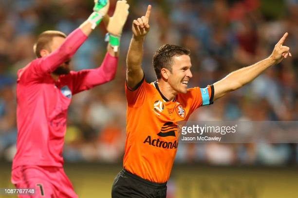 Matt McKay of the Roar celebrates scoring a goal during the round 10 ALeague match between Sydney FC and the Brisbane Roar at WIN Jubilee Stadium on...