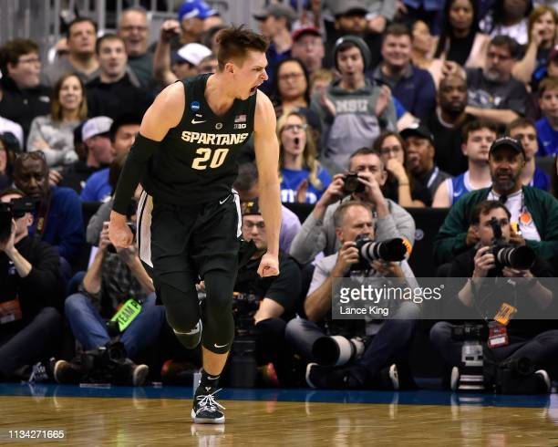 Matt McQuaid of the Michigan State Spartans reacts in the first half against the Duke Blue Devils during the 2019 NCAA Men's Basketball Tournament...