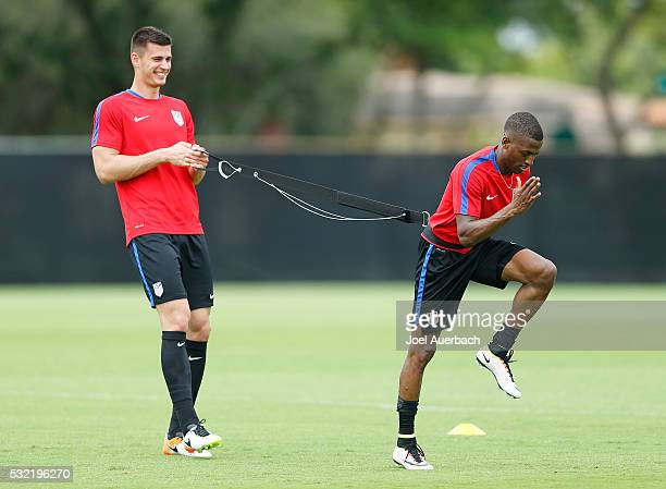 Matt Miazga and Fabrice Picault of the US Men's National team run a drill during a training session on May 18 2016 at Buccaneer Field on the campus...