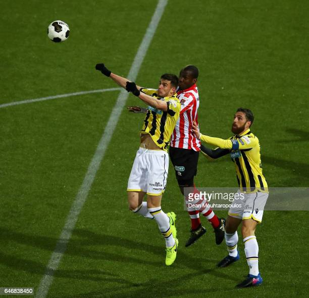 Matt Miazga and Guram Kashia of Vitesse Arnhem battles for the ball with Mathias Pogba of Sparta Rotterdam during the Dutch KNVB Cup Semifinal match...