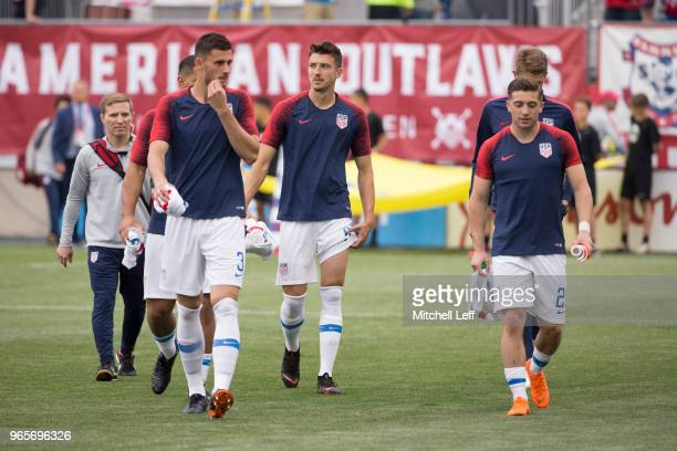 Matt Miazga Andrija Novakovich and Lynden Gooch of the United States walk onto the pitch prior to the friendly soccer match against Bolivia at Talen...