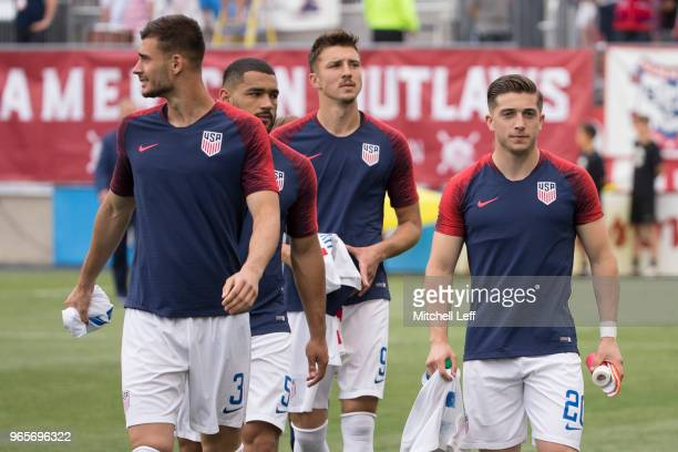 Matt Miazga Cameron CarterVickers Andrija Novakovich and Lynden Gooch of the United States walk onto the pitch prior to the friendly soccer match...