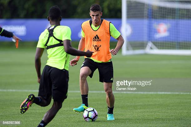 Matt Miazga during a Chelsea training session at Chelsea Training Ground on July 12 2016 in Cobham England