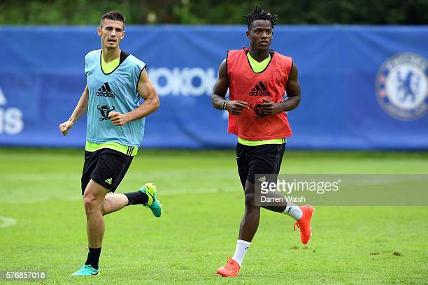 Matt Miazga Michy Batshuayi during a Chelsea training session at Waldarena on July 18 2016 in Velden Austria