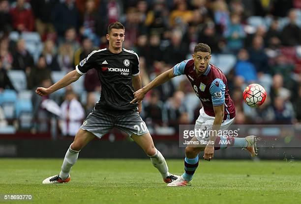 Matt Miazga of Chelsea and Rudy Gestede of Aston Villa during the Barclays Premier League match between Aston Villa and Chelsea at Villa Park on...