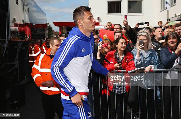 Matt Miazga of Chelsea arrives prior to the Barclays Premier League match between AFC Bournemouth and Chelsea at the Vitality Stadium on April 23...