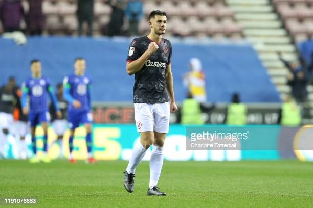 Matt Miazga of Reading FC celebrates during the Sky Bet Championship match between Wigan Athletic and Reading at DW Stadium on November 30, 2019 in...