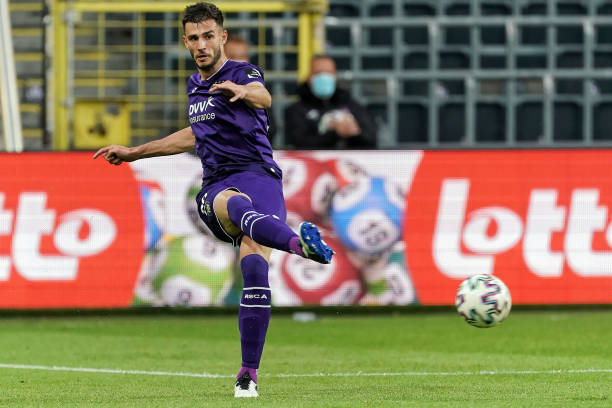 Matt Miazga of RSC Anderlecht in action during the Jupiler Pro League Championship Play-Offs match between RSC Anderlecht and Club Brugge at Lotto...