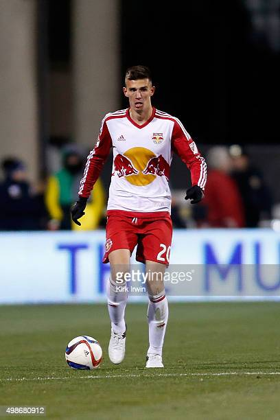 Matt Miazga of the New York Red Bulls controls the ball during the match against the Columbus Crew SC on November 22 2015 at MAPFRE Stadium in...