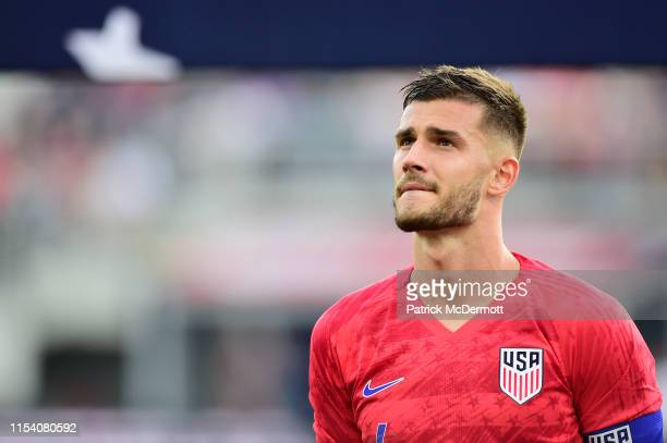 Matt Miazga of the United States listens to the national anthem before an International Friendly against Jamaica at Audi Field on June 5, 2019 in...