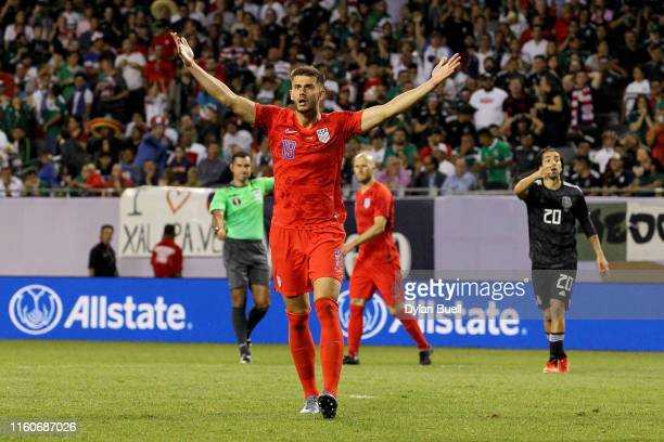 Matt Miazga of the United States reacts in the second half against Mexico during the 2019 CONCACAF Gold Cup Final at Soldier Field on July 07, 2019...