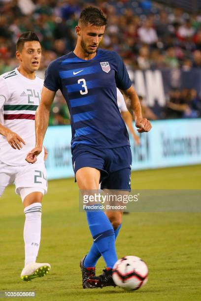 Matt Miazga of the USA plays against Mexico in a friendly match at Nissan Stadium on September 11, 2018 in Nashville, Tennessee.