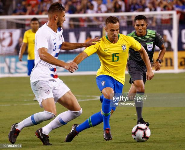 Matt Miazga of USA defends Arthur of Brazil during their friendly match at MetLife Stadium on September 7 2018 in East Rutherford New Jersey