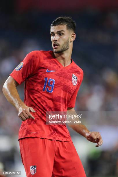 Matt Miazga of USA during the 2019 CONCACAF Gold Cup Semi Final between Jamaica and United States of America at Nissan Stadium on July 3, 2019 in...