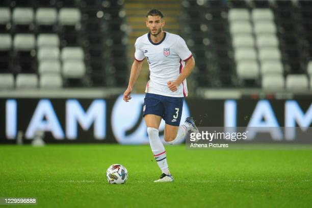 Matt Miazga of USA in action during the international friendly match between Wales and USA at the Liberty Stadium on November 12, 2020 in Swansea,...