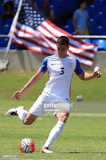 Matt Miazga of USA takes a shot during an international friendly match between Puerto Rico and USA at Juan Ramon Loubriel Stadium on May 22 2016 in...