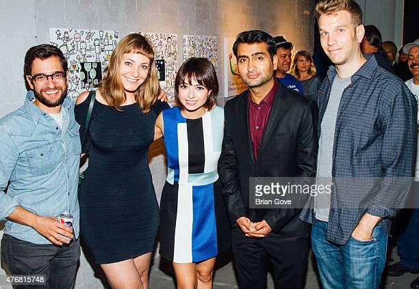 Matt Micucci Emily Gordon Kate Micucci Kumail Nanjiani and Anthony Jeselnik attend Kate Micucci's Art Show at Flood Magazine Gallery on June 11 2015...