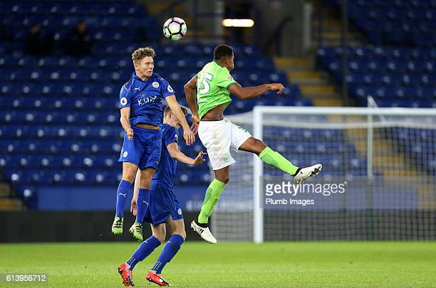 Matt Miles of Leicester City in action with Anton Donkor of VFL Wolfsburg during the Premier League International Cup match between Leicester City...