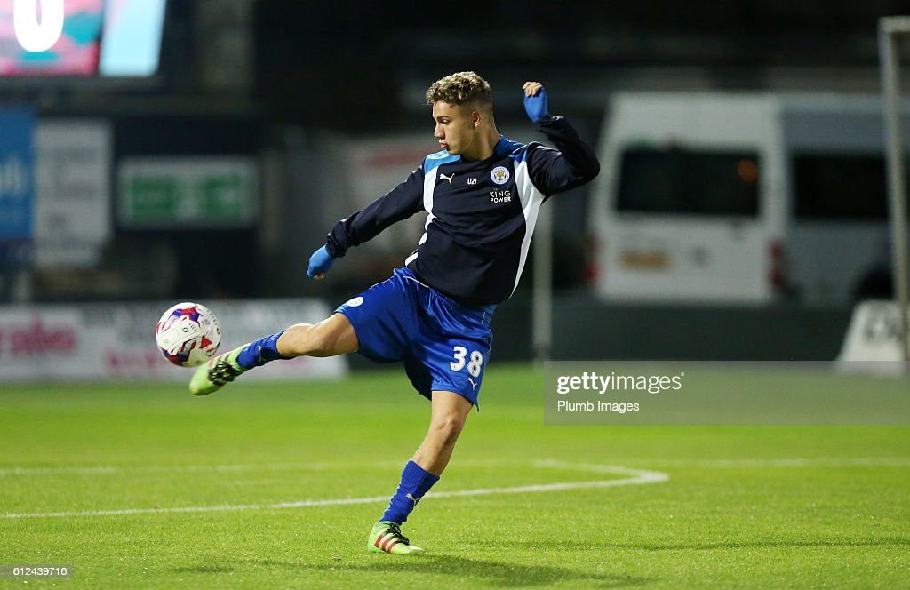 Matt Miles of Leicester City warms up at Blundell Park ahead of the checkatrade Trophy match between Grimsby Town and Leicester City at Blundell Park on September 04, 2016 in Grimsby, United Kingdom.